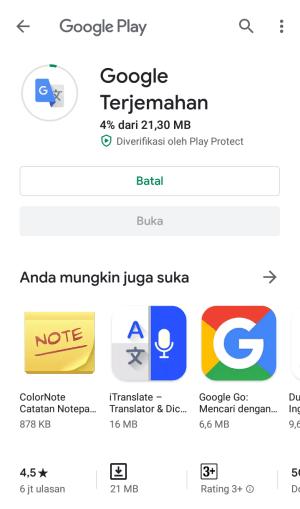 otomatis download google translate untuk menerjemahkan nantinya