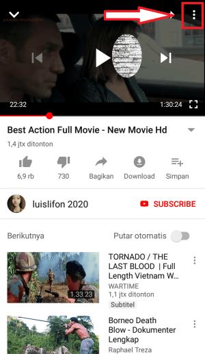 pause video dan kilk icon titik tiga di pojok atas