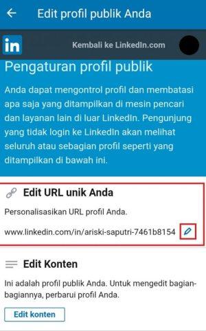 Pilih ikon pena untuk mengedit URL