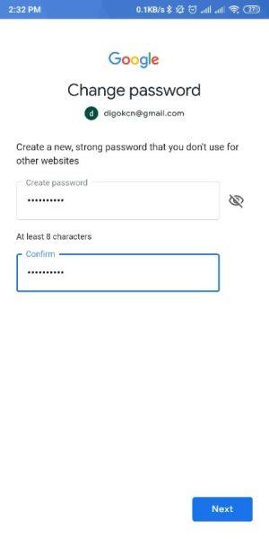 Masukkan Password baru