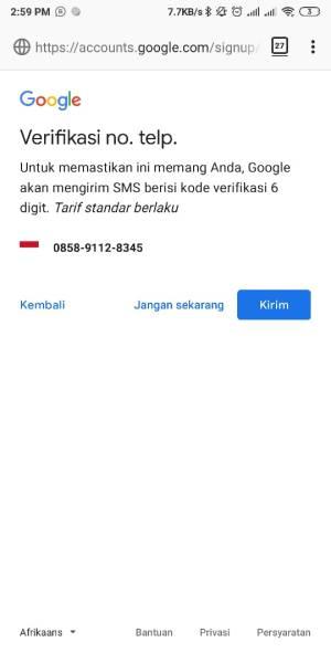 Kirim permintaan Verifikasi SMS