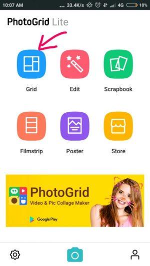 """buka PhotoGrid dan tap """"grid"""" untuk mengkolase atau menggabungkan foto"""