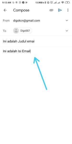 masukkan juduk dan isi email