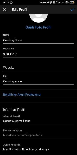 Tampilan Edit Profil dari aplikasi Instagram