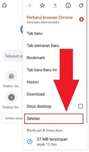 Masuk ke pengaturan browser