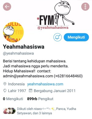 Akun Twitter @Yeahmahasiswa