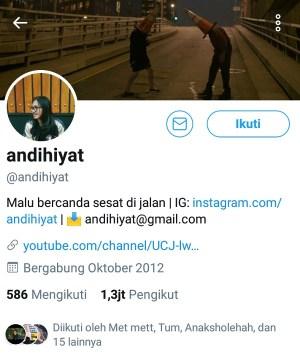 Akun Twitter @Andihiyat