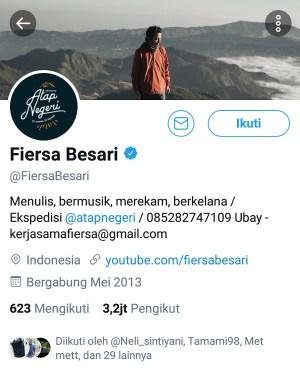 Akun Twitter @FiersaBesari