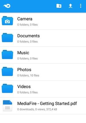 Tampilan aplikasi cloud storage MediaFire