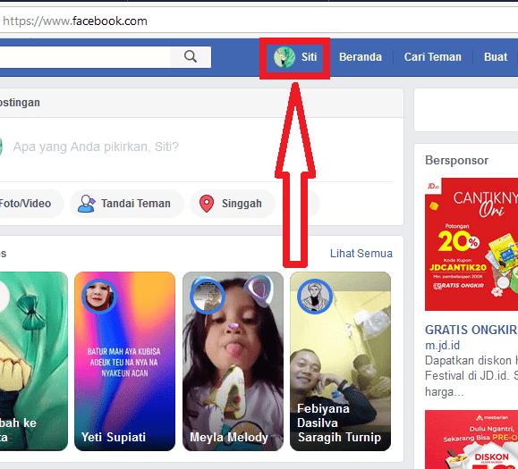 masuk ke profil facebook