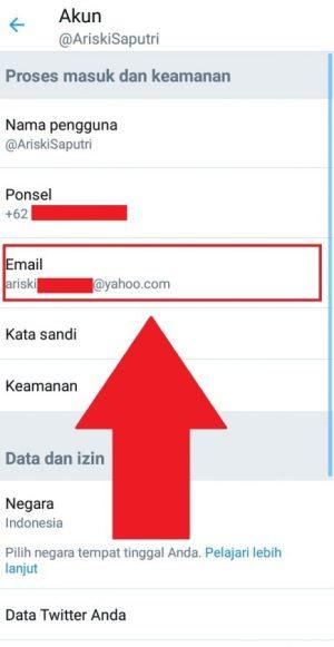 """""""Email"""" untuk mengubah alamat email Twitter"""