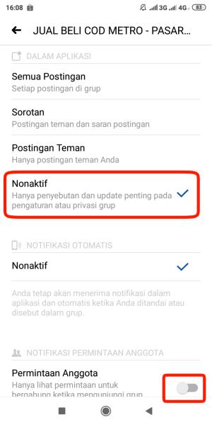 pilih Nonaktif