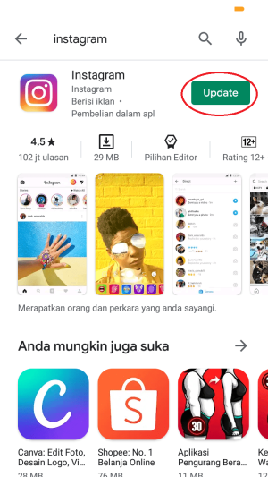 update aplikasi instagram