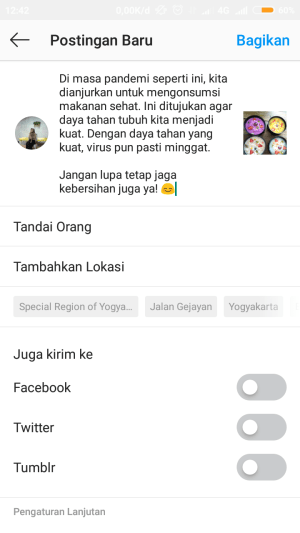 paste caption dengan spasi baris