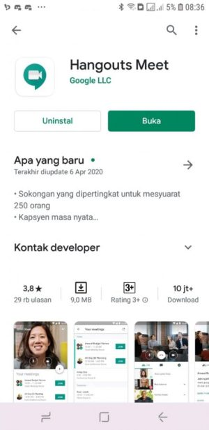 Download Aplikasi Google Hangouts Meets di Playstore