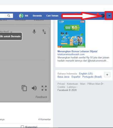 klik icon panah bawah