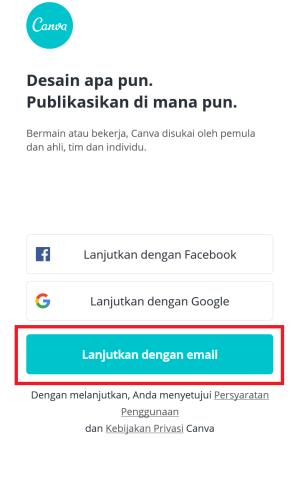 lanjutkan dengan email