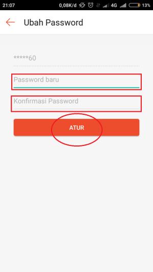 "masukkan password baru lalu klik ""atur'"
