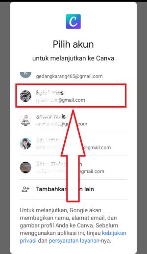 pilih akun gmail yang akan di gunakan