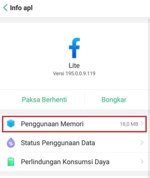 Penggunaan memori Facebook Lite