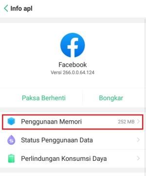 Penggunaan memori Facebook Regular