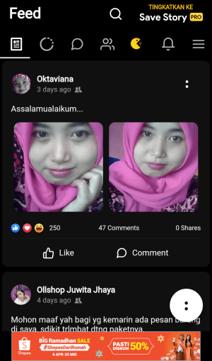 beranda facebook versi save story