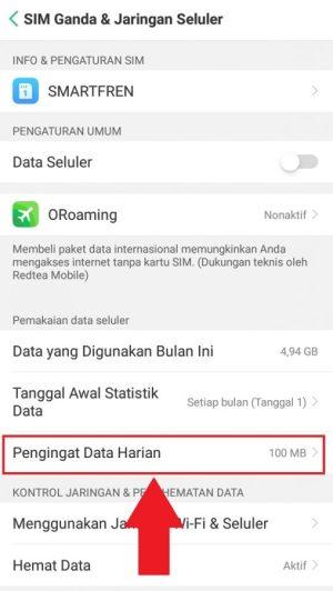Memberikan limit data harian di ponsel