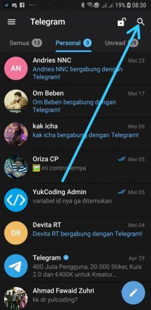 halaman awal aplikasi Telegram