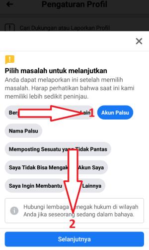 klik akun palsu dan selanjutnya