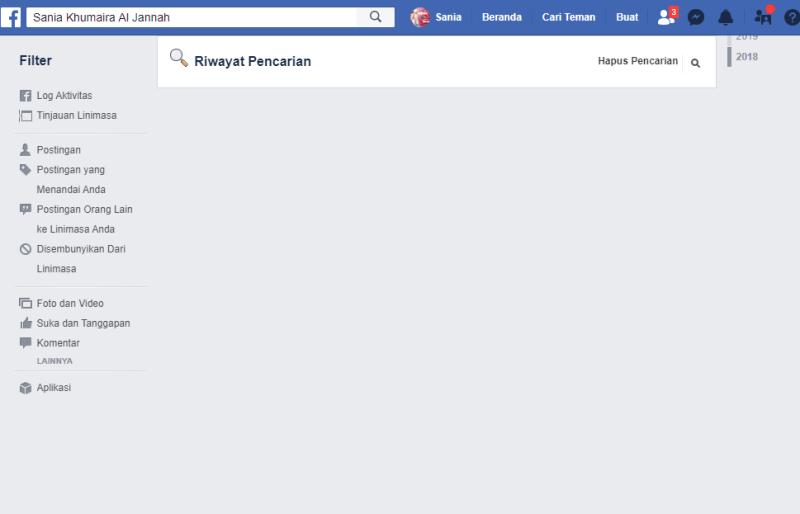 tampilan halaman riwayat pencarian