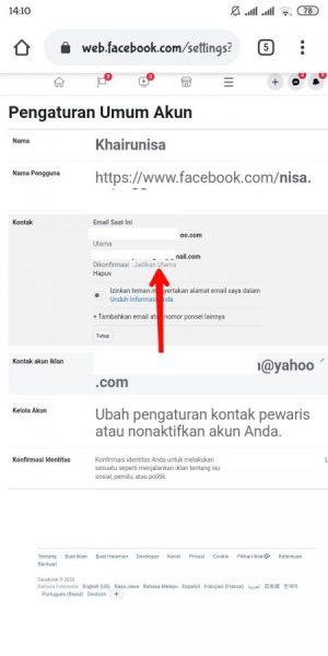 Cara mengganti atau menghapus email akun facebook
