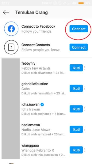 """pada connect to facebook, klik """"connect"""""""