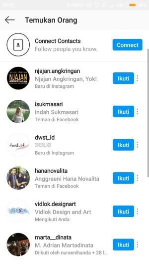 cari teman facebook di instagram