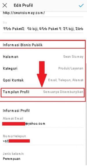 """Pilih """"Tampilan profil"""" untuk mengaktifkan lokasi supaya tampil di bio Instagram"""
