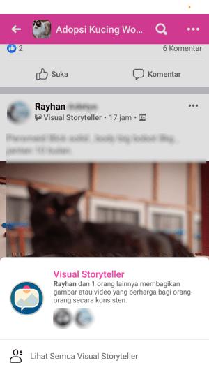 lencana visual storyteller di grup facebook