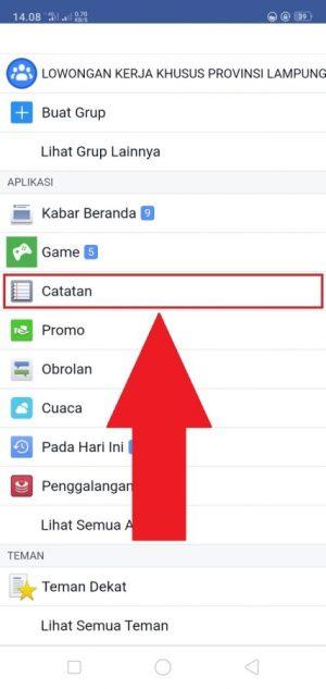 """Cari menu """"Catatan"""" untuk mengakses fitur Facebook notes"""
