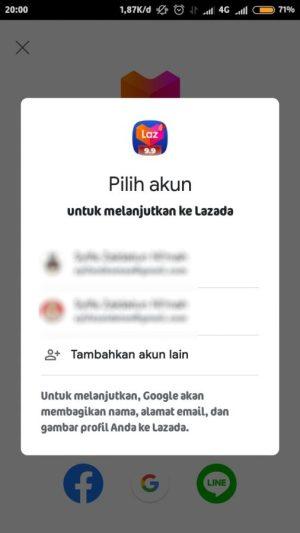pilih email yang terhubung dengan lazada