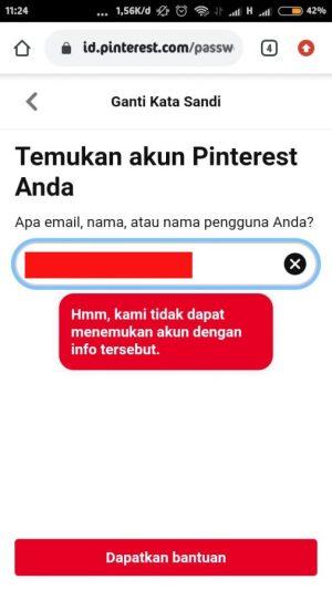 pinterest tidak menemukan username atau alamat email