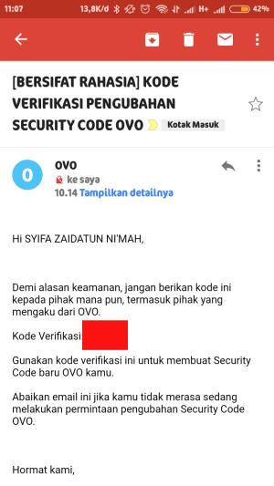 cek email dari OVO dan masukkan kode yang diterima ke aplikasi OVO
