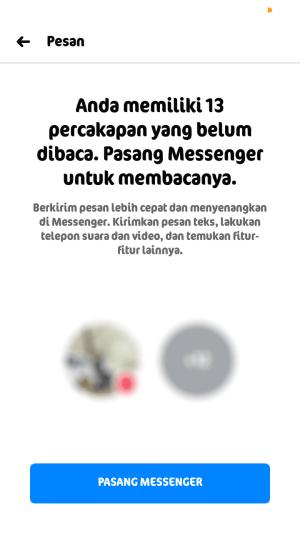 tampilan aplikasi facebook ketika kita membuka inbox
