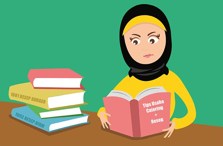 BukuKas - Bu Yati Sedang Membaca Buku Tips Usaha Katering