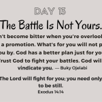 The Battle Is Not Yours.