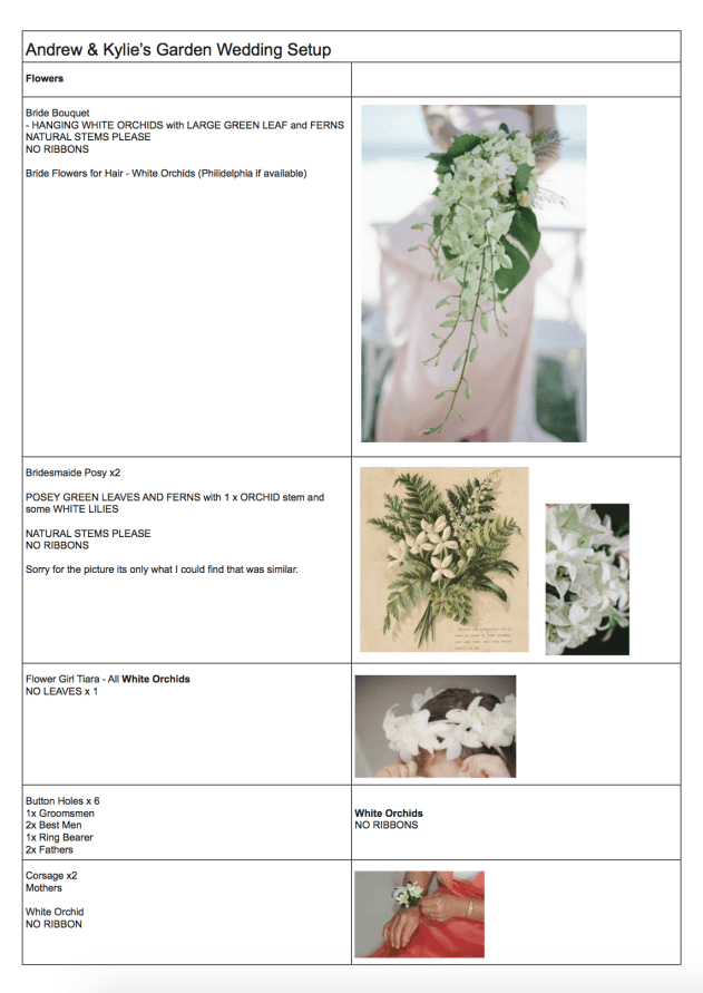 Example of doc sent to Outrigger for florals, ceremony & reception decorations.