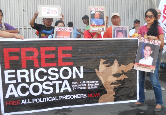 Ericson Acosta, began his hunger strike to expose the particular circumstances of his arrest and continued unjust detention. (Photo by Anne Marxze D. Umil / Bulatlat.com)