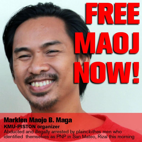 'Free our labor organizer' -- KMU asks PNP