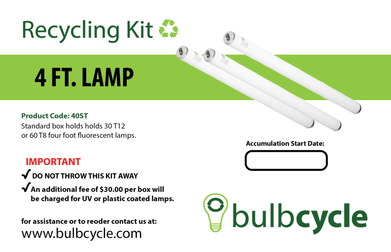BulbCycle 4 foot fluorescent lamp recycling kit standard label
