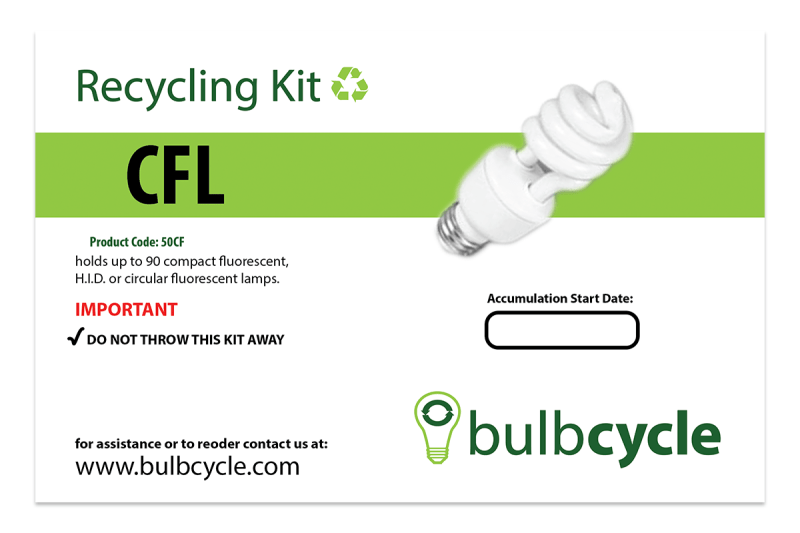 BulbCycle CFL recycling kit label