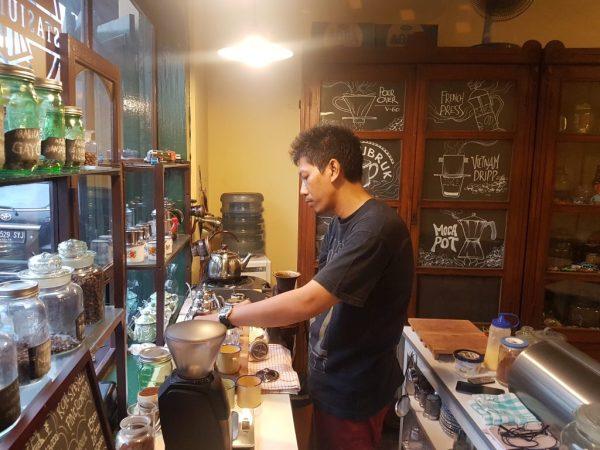 Coffee being prepared