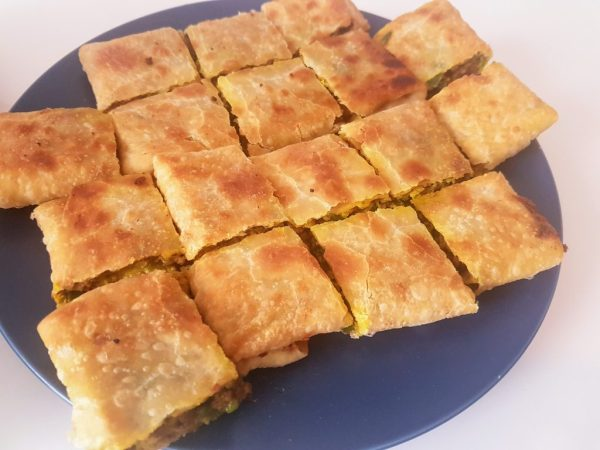 Chopped martabak served