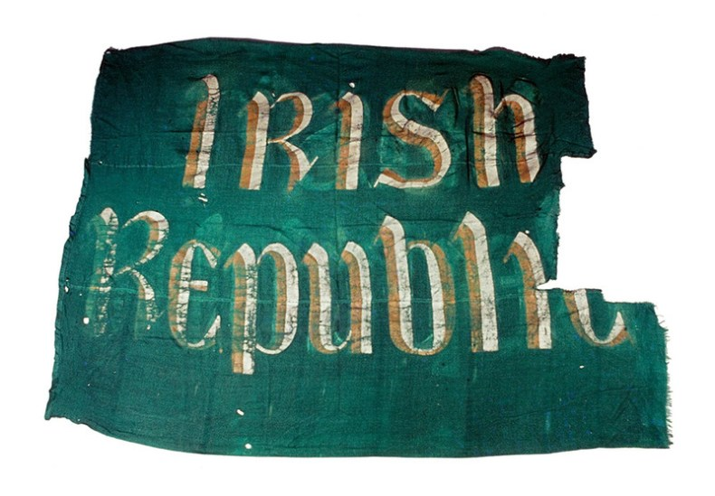 The actual flag which was raised above the G.P.O. by Eamon Bulfin, on Easter Monday 1916. The flag was returned to the Irish State by the Imperial War Museum in 1966, to mark the 50th anniversary of the Rising.